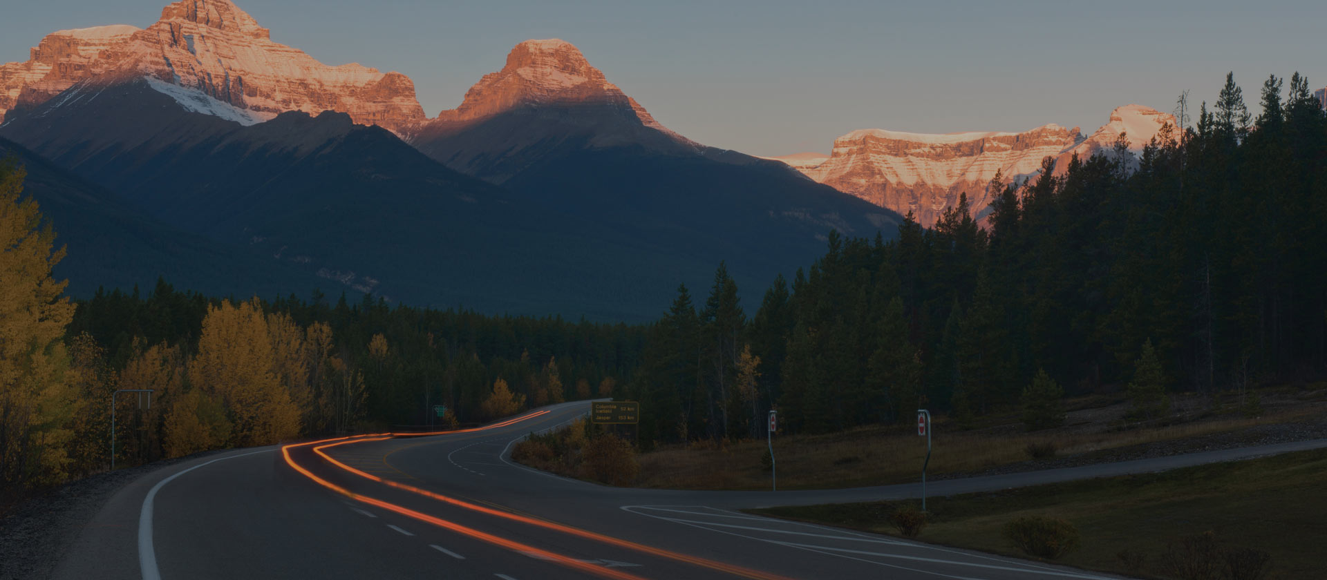 road leading to Canadian Rockies